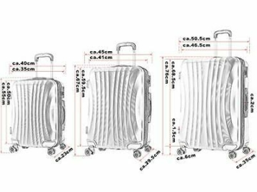WOLTU RK4213ts, Reise Koffer Trolley Hartschale 4 Rollen Vol(3er Set Türkis)